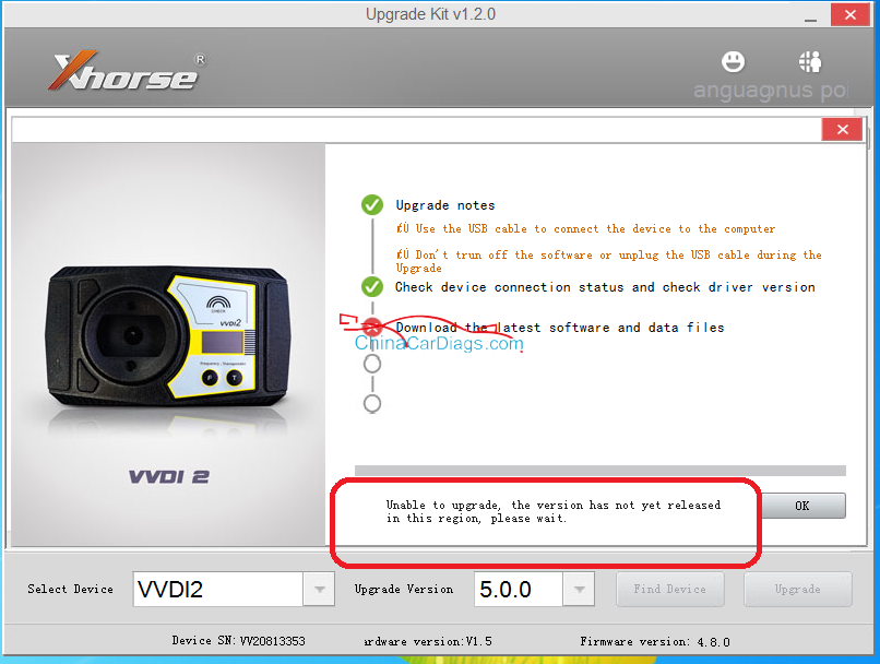(Solved) VVDI2 5.0.0 Unable to upgrade, the version not yet released in this region