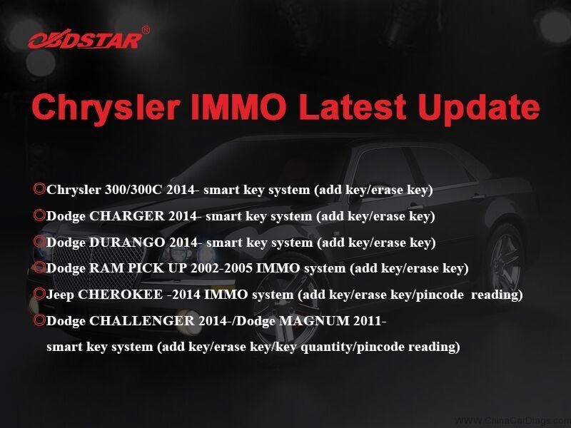 OBDSTAR Chrysler IMMO New update 2018/8/24 | chinacardiags