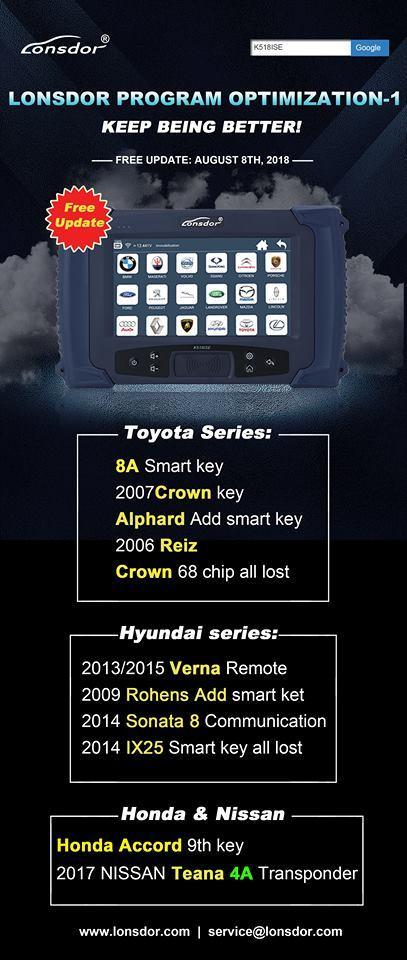 Lonsdor K518ise new update Toyota Hyundai Honda & Nissan