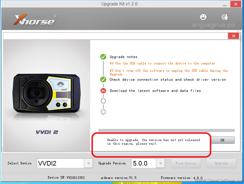 VVDI2 not connect to server – Pls use XHorse Upgrade Kit!