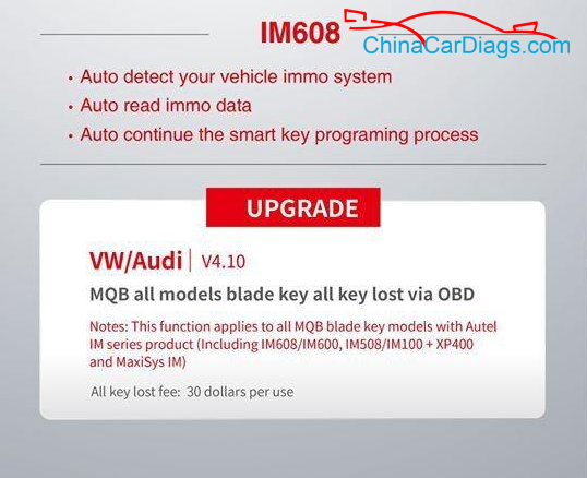 Autel-IM608-VW-Audi-v4.10-MQB-all-models-blade-key-all-key-lost-via-obd-2