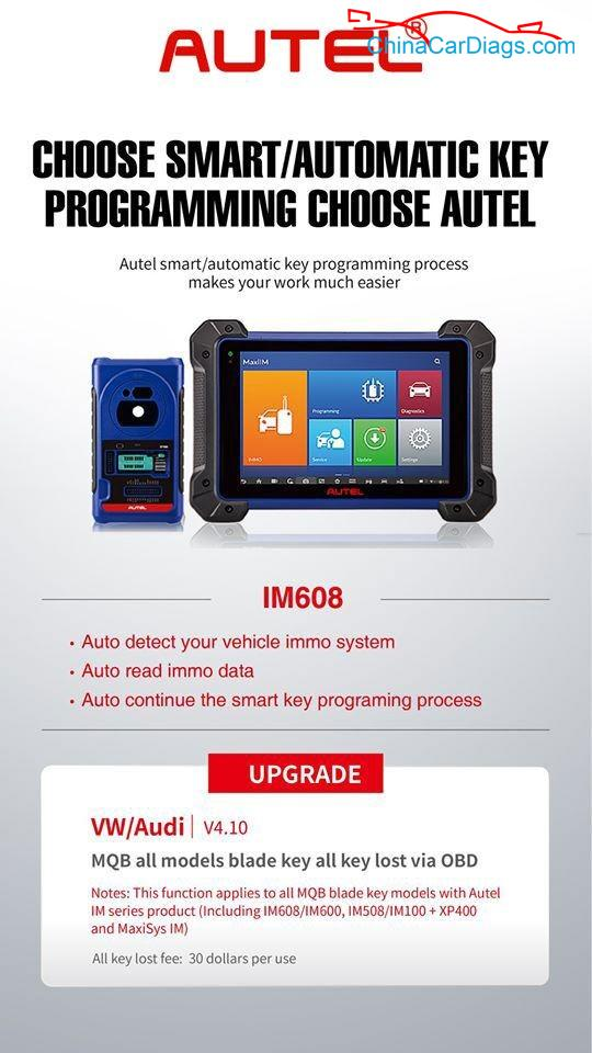 Autel-IM608-VW-Audi-v4.10-MQB-all-models-blade-key-all-key-lost-via-obd